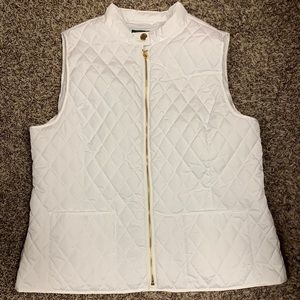 Ellen Tracy XL White Quilted Vest Like New